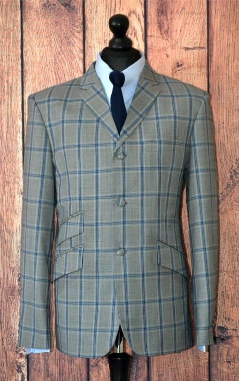 """Clifford"" Grey &  Blue Window Check Suit"